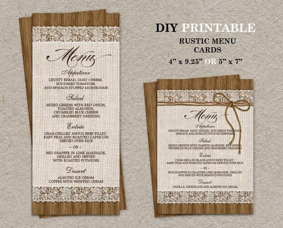 DIY Rustic Wedding Menu Cards Burlap And Lace Menu Card