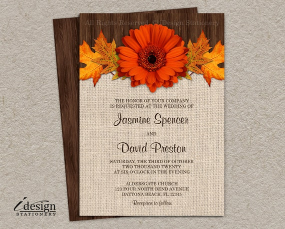 DIY Fall Wedding Invitations Printable Rustic Fall Wedding Invitation