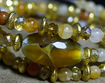Three Tier Jasper and Gold Memory Wire Bracelet