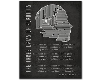 Isaac Asimov The Three Laws of Robotics - Circuit Artificial Intelligence Robot Head Science Fiction Reading Gift Bookish Russian Author