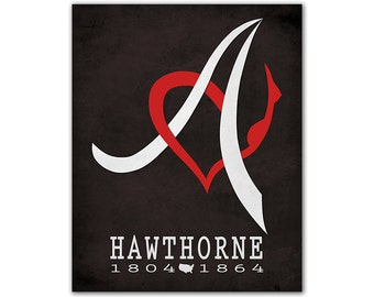 Nathaniel Hawthorne The Scarlet Letter - Adultery Guilty Red Letter A Chest Calligraphy Literary Decor Bookish Art American Author