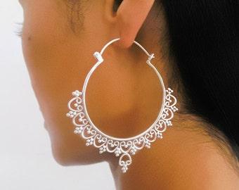 Silver Earrings - Silver Hoops - Gypsy Earrings - Tribal Earrings - Ethnic Earrings - Indian Earrings - Ttibal Hoops - Indian Hoops (ES58)