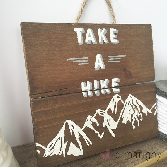 Outdoor Cabin Wall Decor : Items similar to take a hike hand painted wood wall art