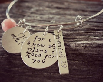 Jeremiah 29 Silver Bangle, For I Know The Plans I Have For You, Confirmation Bracelet, Baptism Gift, Communion Jewelry, Bible Verse Bangle