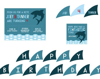 Shark Theme Birthday Party Package- Shark Birthday Party Package- Shark Party Printables- Shark Printables