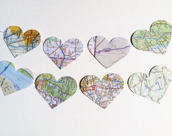 Paper Heart Map Garland- 10 ft