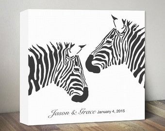 Zebra Canvas, Personalized Anniversary Gift for Wedding Gift for Couples Gift for Her Wedding Wall Art Love Zebras, Wall Decor Housewarming