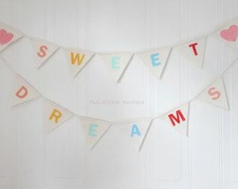 Baby nursery decor SWEET DREAMS bunting banner, newborn baby photo prop