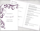 "Catholic Wedding program template Plum ""Scroll"" DIY printable order of ceremony booklet damson purple program templates YOU edit download"