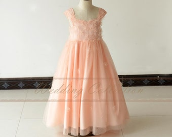 Blush Flower Girl Dress With Handmade Flowers and Pearls