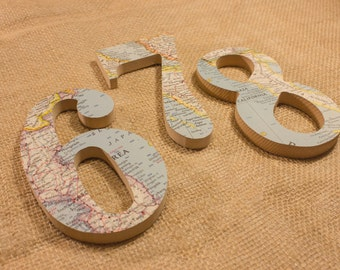 Travel World Vintage Map Numbers. Wall Art. Word Art.