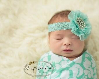 flower headband, lace headband, floral headband, rhinestone headband, baby headband, newborn headband, hair accessory, infant headband