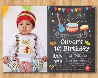 Music Birthday Invitation. Boy or girl Music Party birthday invitation with Photo. 1st 2nd 3rd 4th 5th 6th 7th Any ages. Printable Digital.