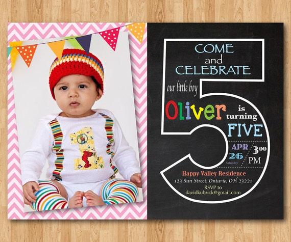 5. Geburtstag Einladung. Fünften Geburtstag Einladung Mit Foto.  Kreideküste. Chevron Baby Junge Oder Mädchen. Blau, Rosa, Jede Farbe.  Druckbare Digital.