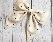 Ivory & Black Polka Dots Sailor Bow on Clip