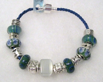 182 - CLEARANCE - Green White Blue Bracelet