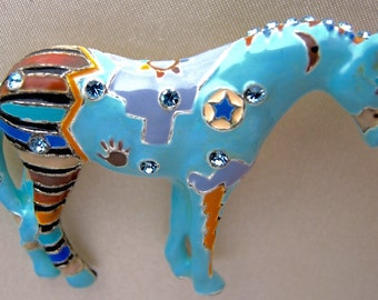 Vintage The Trail of Painted Ponies Spirit War Pony Pin/Pendant Retired Rare #8544 Enamel Crystal Accents Artisan Handcrafted DR9