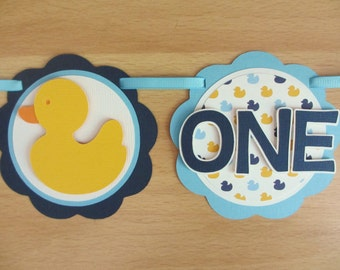 Rubber Duck Ducky I Am 1 Age Highchair Banner Sign Birthday Party Shower Yellow Navy Blue