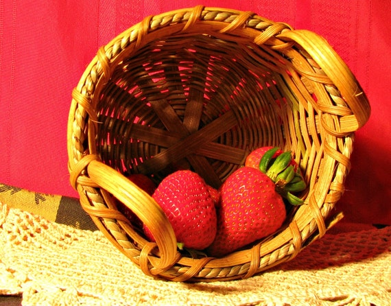 Items similar to hand woven berry basket small bushel