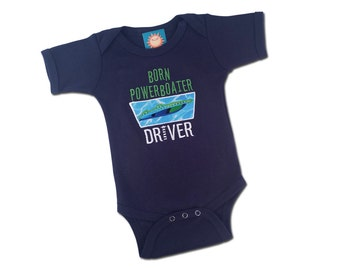 Boy's 'Born Powerboater' DRIVER Baby Bodysuit