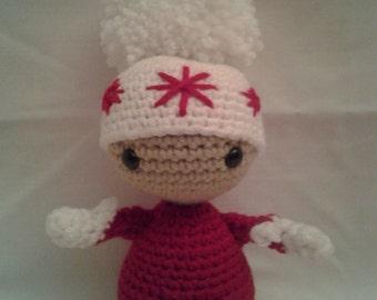 RED The Winter Doll = Crochet Amigurumi = Handmade Crochet Doll