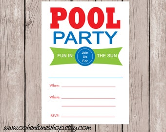 Instant Download Fill In Pool Party Invite. Fill in Invitations.  Pool Party Birthday Invitation.  Swimming Party Invite.