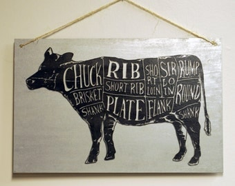 "Butcher Chart Kitchen Wall Art Beef Diagram Sign on Galvanized Steel Sheet Metal - 17"" x 11"""
