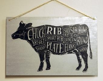 "Butcher Chart Kitchen Wall Art Beef Diagram Sign on Galvanized Steel Sheet Metal - 17"" x 11"""