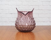 Vintage Hobnail Glass Owl Vase Purple