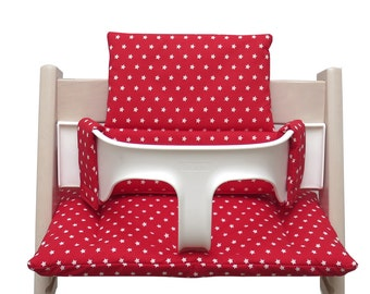 Cushion Set for your Tripp Trapp High Chair - red with Stars (coated)