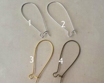 50pcs (25pair)  Kidney Earwires French Earwire Earring Findings ,Earring Hook Earring Wire EB002