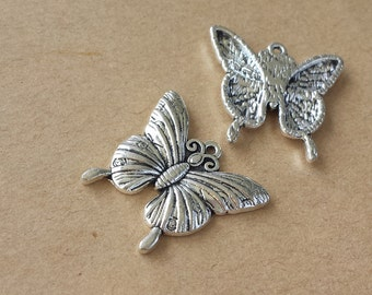 10pcs 23x24mm Antique Silver Lovely Butterfly Charm Pendant  ABA015