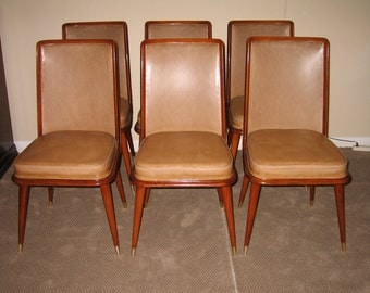 Set 6 Mid Century Modern Italian  dining chairs, walnut frame c. 1960  + 'Free delivery in US. 48 states'