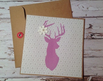 birthday card, Handmade Kraft cardstock blank card, card with stag, any occasion card, handmade blank card,