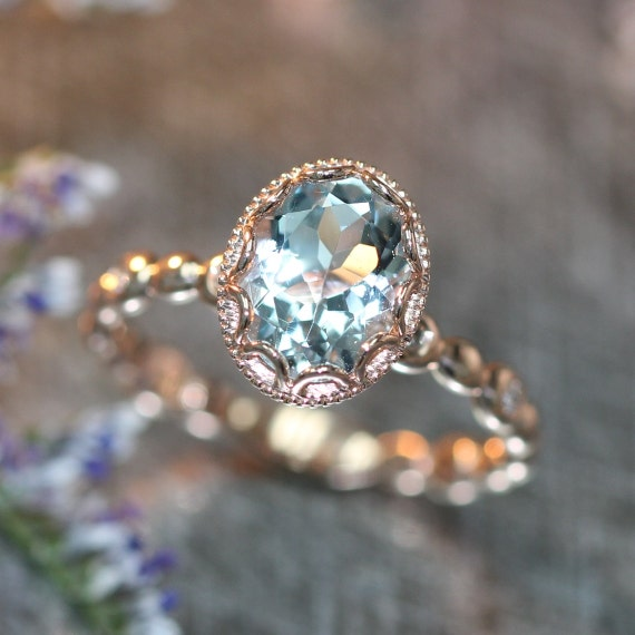 14k Rose Gold Floral Aquamarine Engagement Ring In By