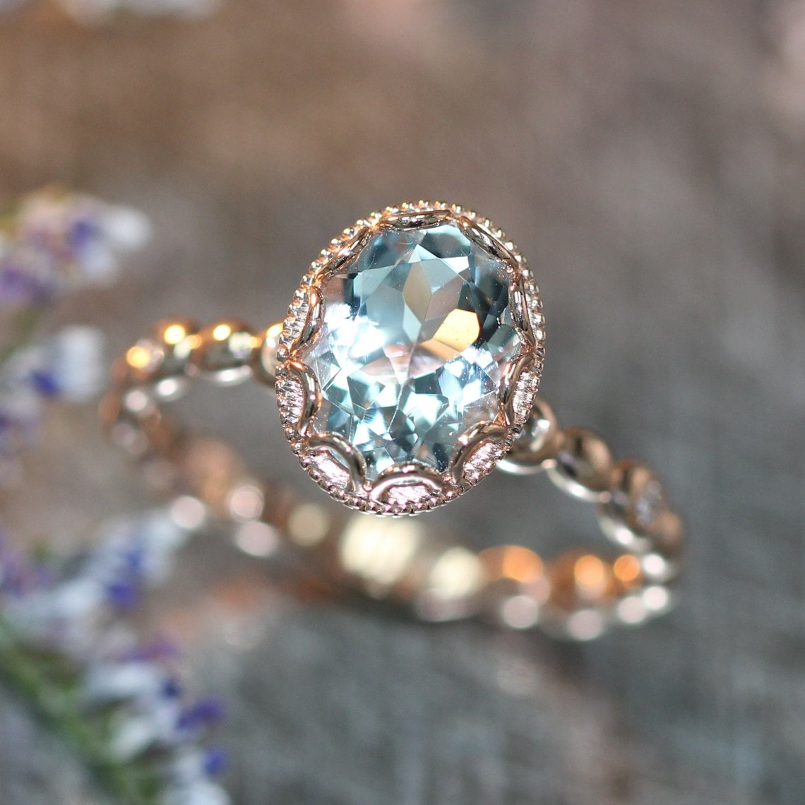 14k rose gold floral aquamarine engagement ring in by. Black Bedroom Furniture Sets. Home Design Ideas