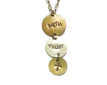 Faith Necklace - Trust Necklace - Cross Necklace - Graduated Disc Necklace-