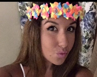 Neon Flower Crown Halo Head Tie Wrap