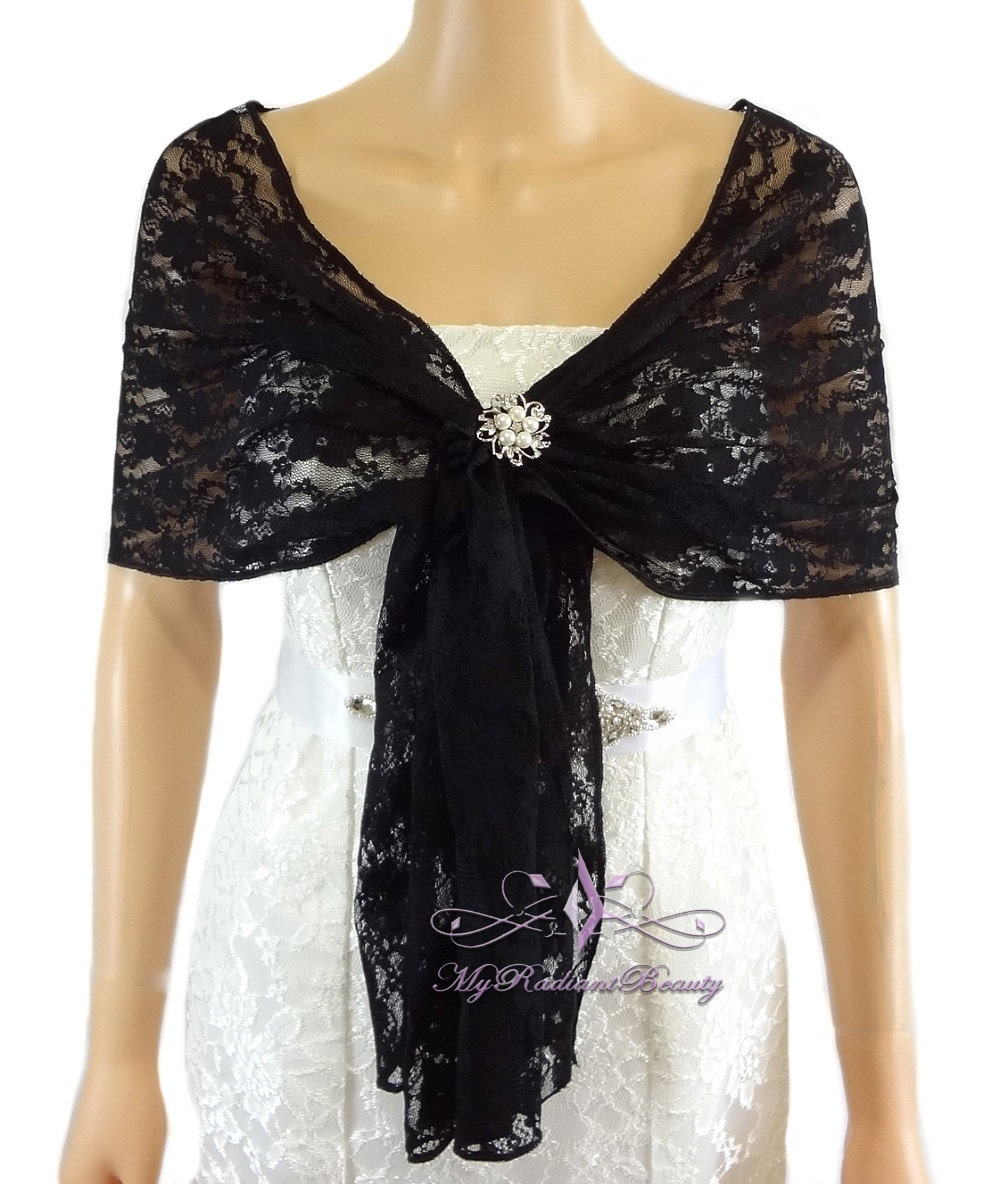Bridal Lace Wrap Stole Black Lace Shawl Bridal Silk Lace