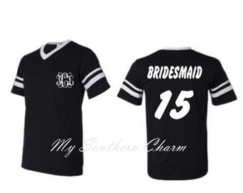 Personalized Bridal Party Football Jersey Style Shirts Bridesmaid Bachelorette Party Bride Bridesmaid b21