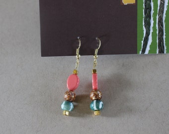 Green and Pink Gold Dangle Earrings