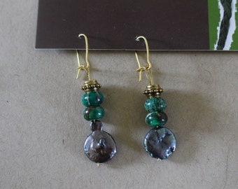Gold green and black earrings