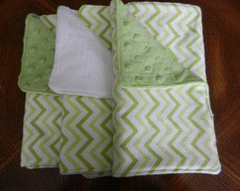 Set of 3 green chevron burp clothes boy or girl
