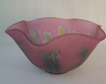 Vintage Rueven Reuven Art Nouveau Glass Bowl     S675