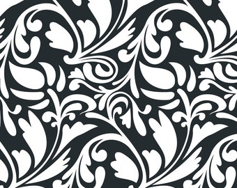 On Sale !!!!special pricing 1yard 21in remnant black scroll damask Fleece Fabric