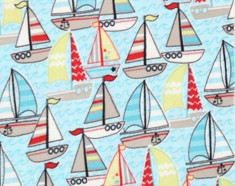 On Sale!!!!!! Sail Boats Fleece Fabric by the yard...