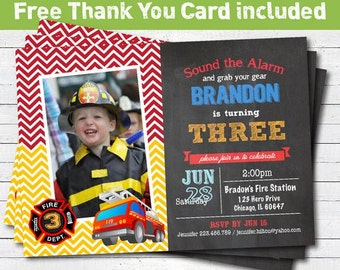 Fire fighter birthday party invitation. Firetruck boy birthday party photo invitation. Printable digital invite. KB004