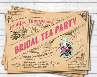 Rustic bridal shower tea party invitation. Vintage french afternoon tea party. Shabby and chic bridal tea. printable digital invite. T013