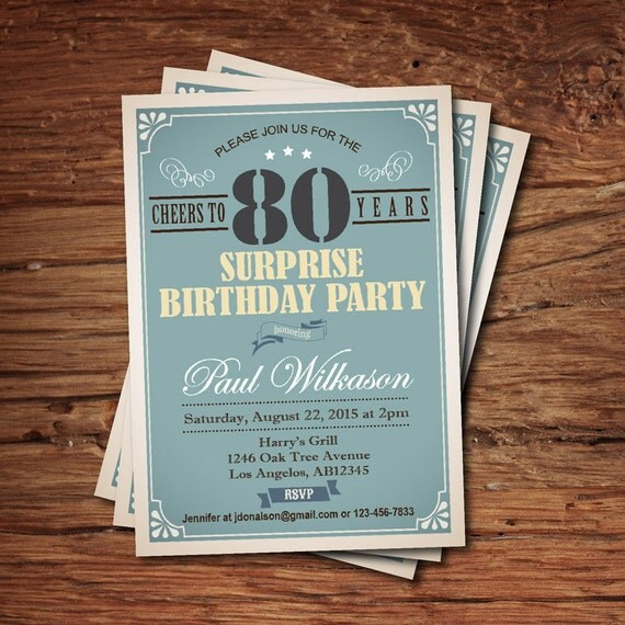 Surprise 80th birthday invitation for man guy any age – Birthday Invitations for Men