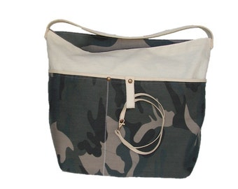 Green handbag - bag camouflage - Reversible bag - camouflage handbag - Tote - green camouflage - beach bag - handbags purses, custom handbag